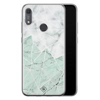 Casimoda Huawei Y6 (2019) siliconen telefoonhoesje - Marmer mint mix