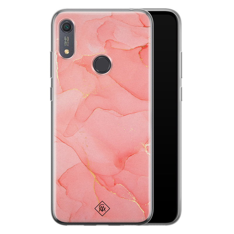 Casimoda Huawei Y6 (2019) siliconen hoesje - Marmer roze