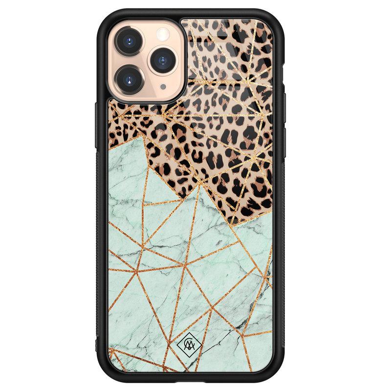 Casimoda iPhone 11 Pro glazen hardcase - Luipaard marmer mint