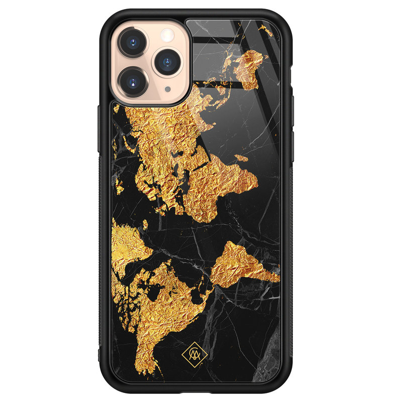 Casimoda iPhone 11 Pro glazen hardcase - Wereldkaart