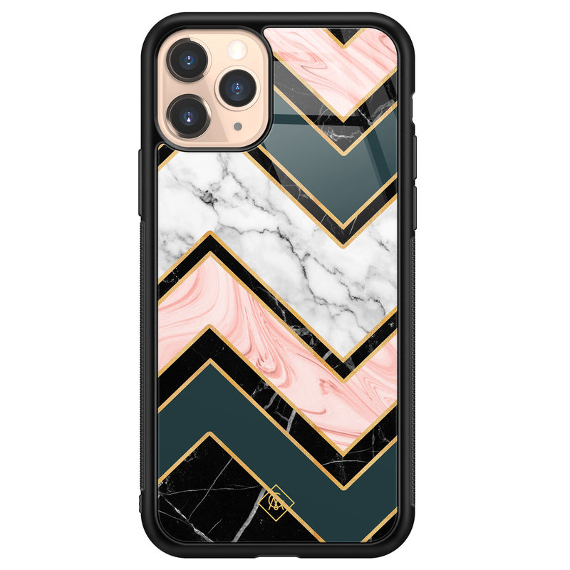 Casimoda iPhone 11 Pro glazen hardcase - Marmer triangles
