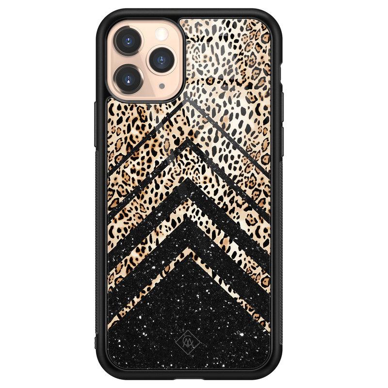 Casimoda iPhone 11 Pro glazen hardcase - Chevron luipaard