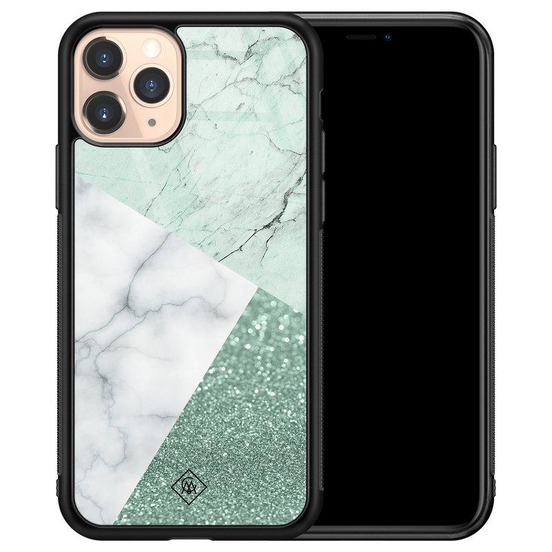 Casimoda iPhone 11 Pro glazen hardcase - Minty marmer collage
