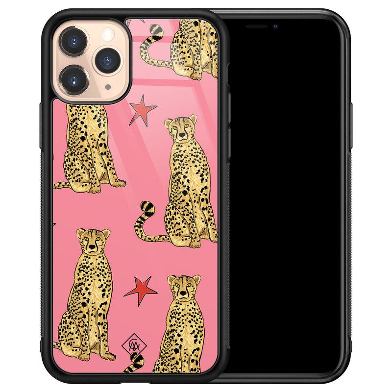 Casimoda iPhone 11 Pro glazen hardcase - The pink leopard