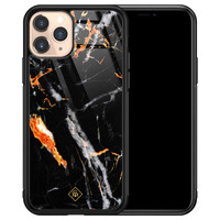 Casimoda iPhone 11 Pro glazen hardcase - Marmer zwart oranje