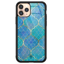 Casimoda iPhone 11 Pro glazen hardcase - Geometrisch blauw