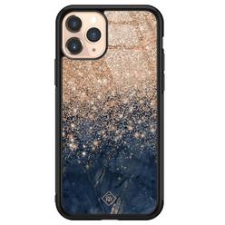 Casimoda iPhone 11 Pro glazen hardcase - Marmer blauw rosegoud