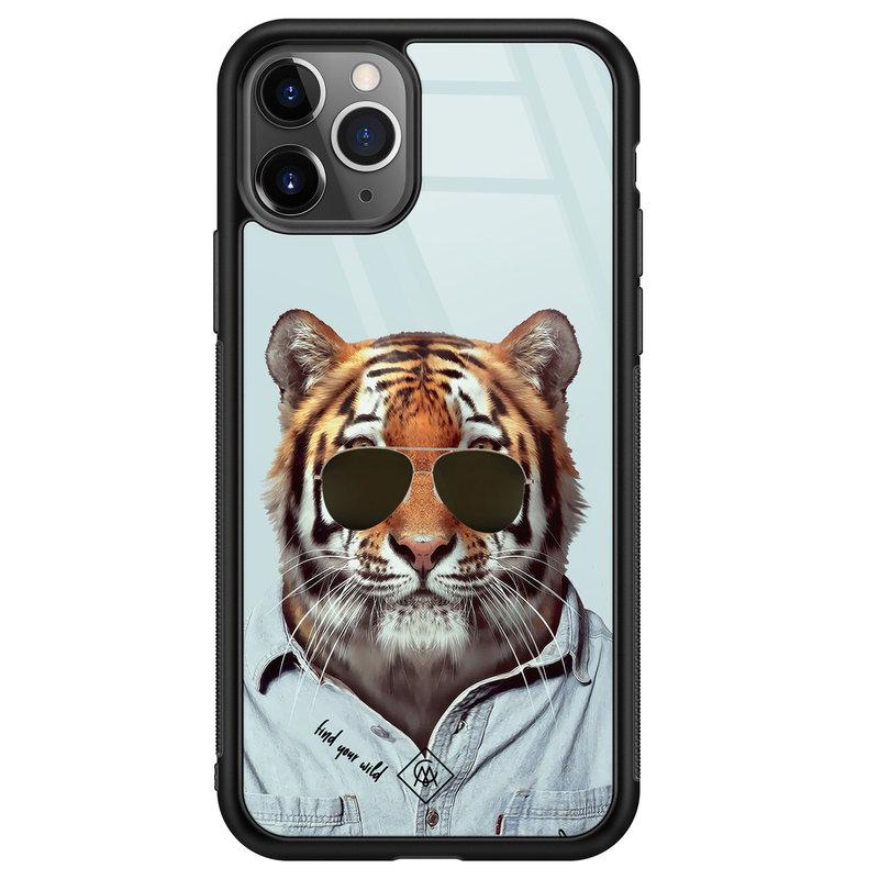 Casimoda iPhone 11 Pro Max glazen hardcase - Tijger wild