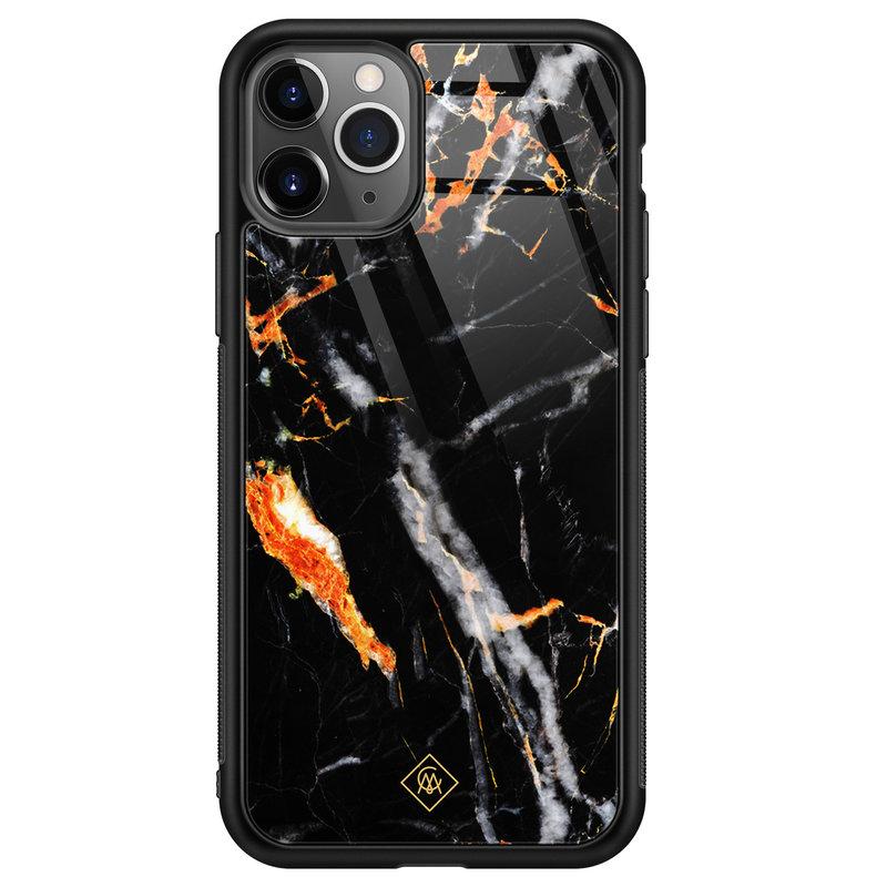 Casimoda iPhone 11 Pro Max glazen hardcase - Marmer zwart oranje
