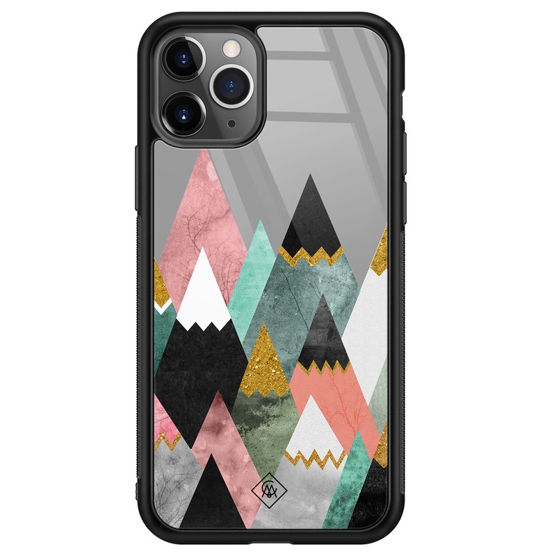 Casimoda iPhone 11 Pro Max glazen hardcase - Marble mountains