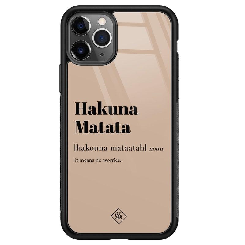 Casimoda iPhone 11 Pro Max glazen hardcase - Hakuna Matata