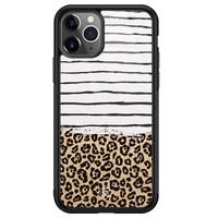 Casimoda iPhone 11 Pro Max glazen hardcase - Leopard lines