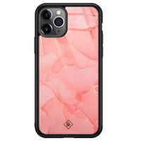 Casimoda iPhone 11 Pro Max glazen hardcase - Marmer roze