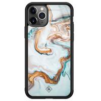Casimoda iPhone 11 Pro Max glazen hardcase - Goud blauw marmer