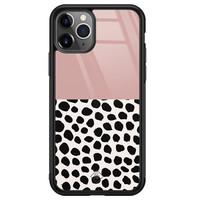 Casimoda iPhone 11 Pro Max glazen hardcase - Pink dots