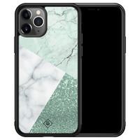 Casimoda iPhone 11 Pro Max glazen hardcase - Minty marmer collage