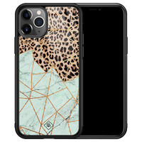 Casimoda iPhone 11 Pro Max glazen hardcase - Luipaard marmer mint
