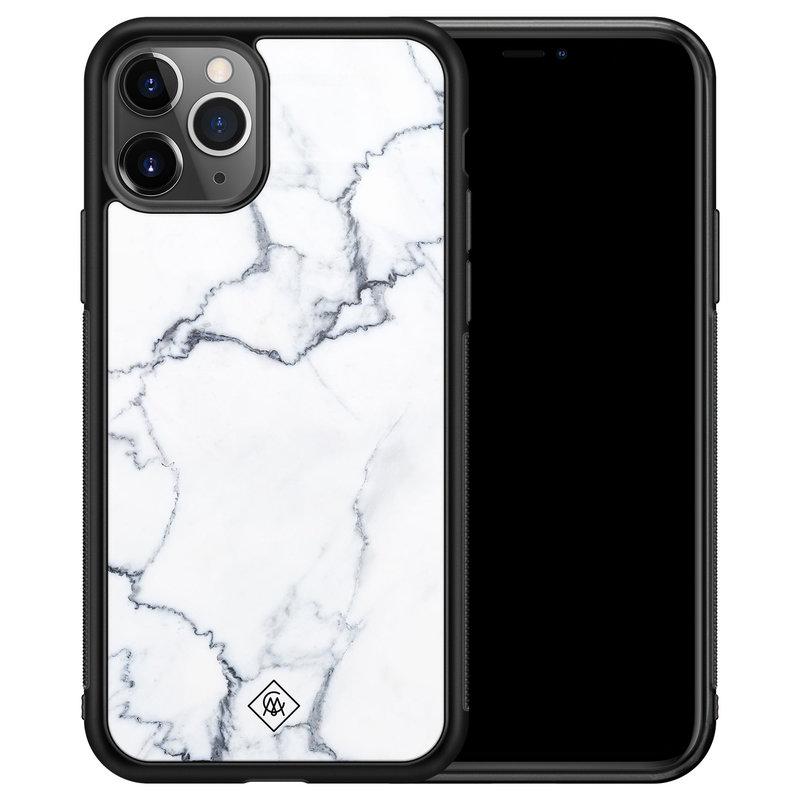 Casimoda iPhone 11 Pro Max glazen hardcase - Marmer grijs