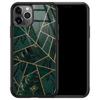 Casimoda iPhone 11 Pro Max glazen hardcase - Abstract groen