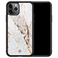 Casimoda iPhone 11 Pro Max glazen hardcase - Marmer goud