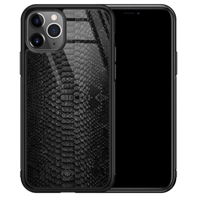 Casimoda iPhone 11 Pro Max glazen hardcase - Black snake