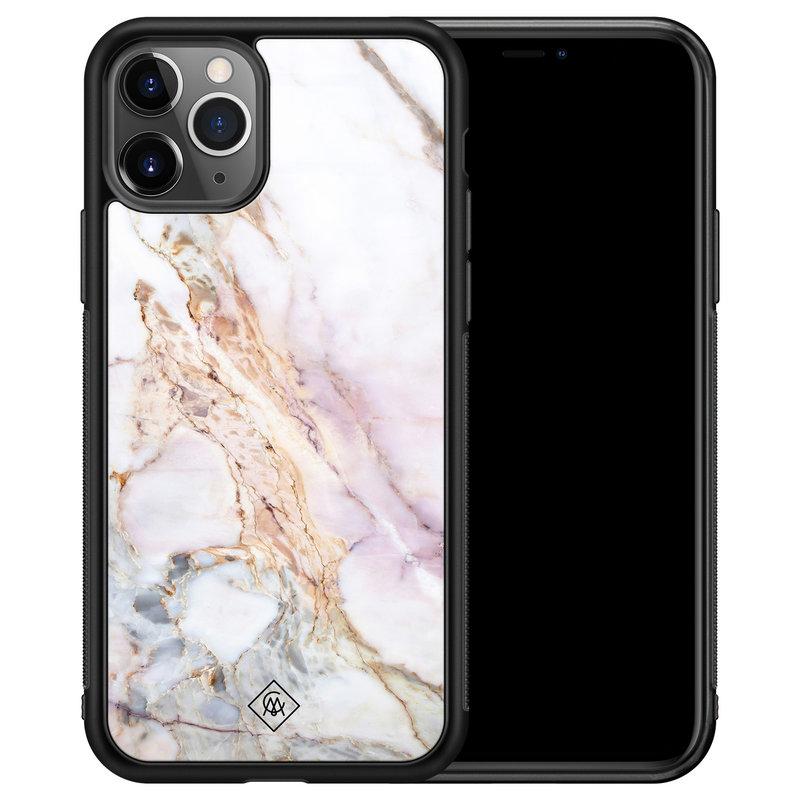 Casimoda iPhone 11 Pro Max glazen hardcase - Parelmoer marmer