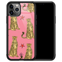 Casimoda iPhone 11 Pro Max glazen hardcase - The pink leopard