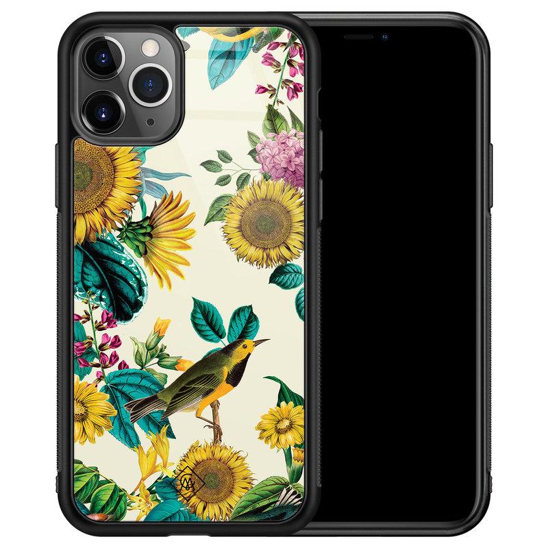 Casimoda iPhone 11 Pro Max glazen hardcase - Sunflowers