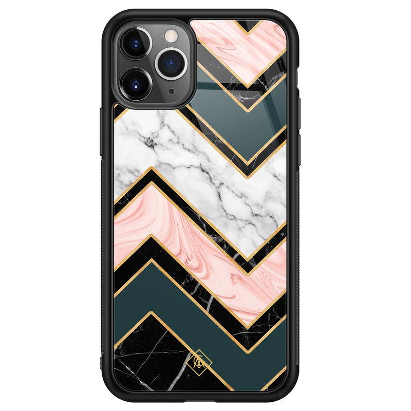 Casimoda iPhone 11 Pro Max glazen hardcase - Marmer triangles