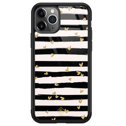 Casimoda iPhone 11 Pro Max glazen hardcase - Hart streepjes
