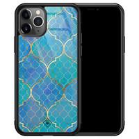 Casimoda iPhone 11 Pro Max glazen hardcase - Geometrisch blauw