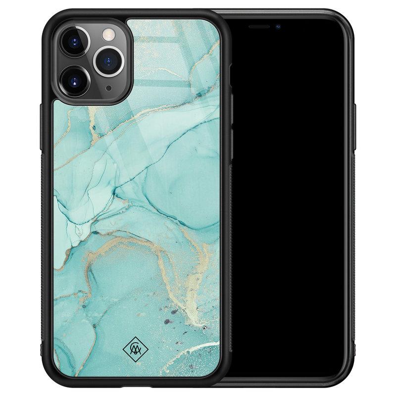 Casimoda iPhone 11 Pro Max glazen hardcase - Touch of mint