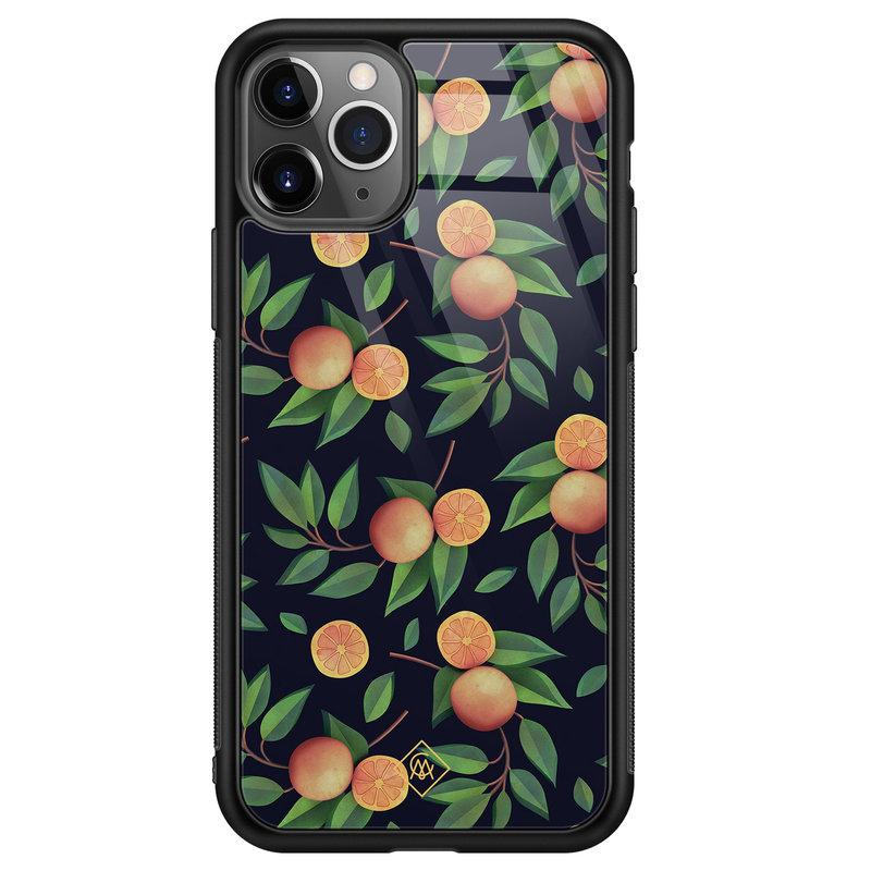 Casimoda iPhone 11 Pro Max glazen hardcase - Orange lemonade
