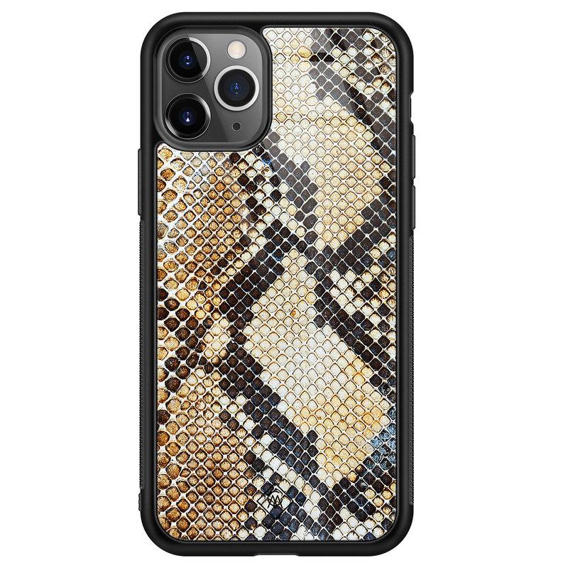 Casimoda iPhone 11 Pro Max glazen hardcase - Golden snake