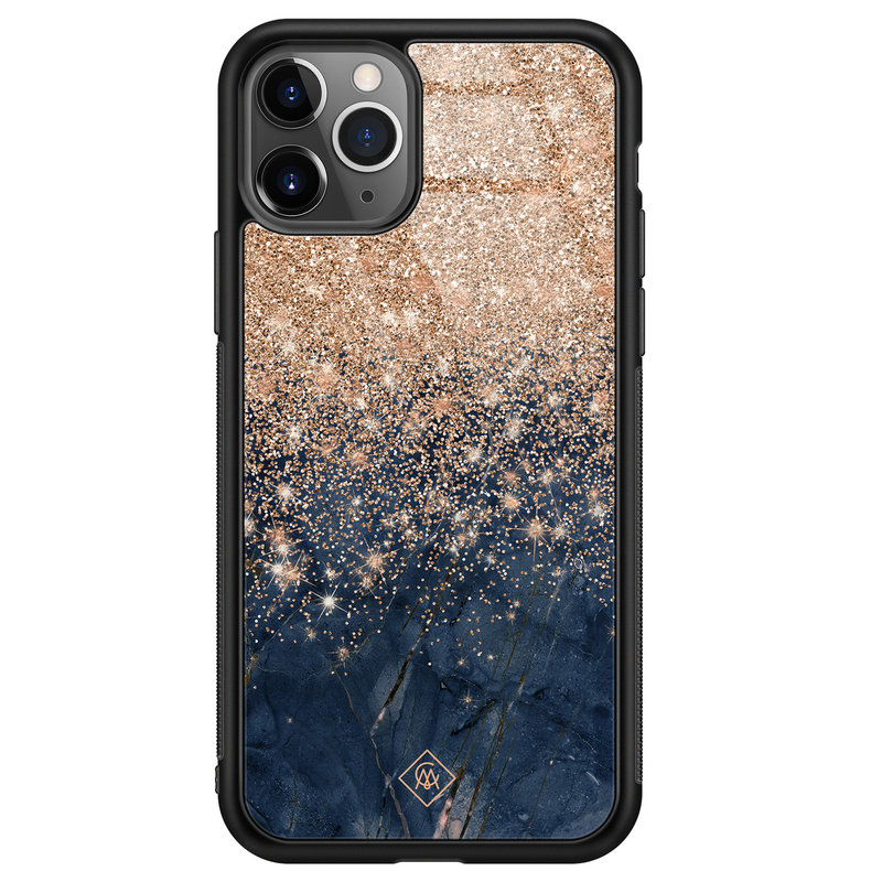 Casimoda iPhone 11 Pro Max glazen hardcase - Marmer blauw rosegoud