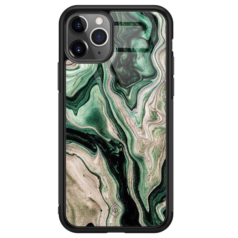Casimoda iPhone 11 Pro Max glazen hardcase - Green waves