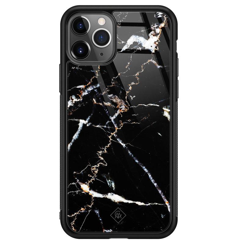 Casimoda iPhone 11 Pro Max glazen hardcase - Marmer zwart