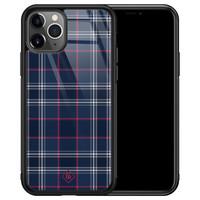 Casimoda iPhone 11 Pro Max glazen hardcase - Tartan blauw