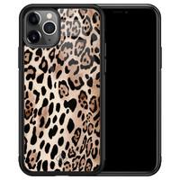 Casimoda iPhone 11 Pro Max glazen hardcase - Golden wildcat