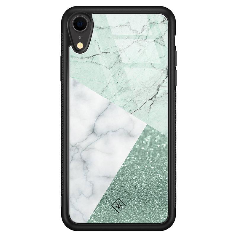Casimoda iPhone XR glazen hardcase - Minty marmer collage