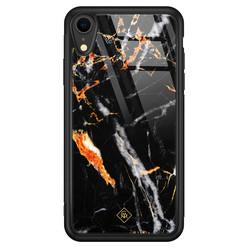 Casimoda iPhone XR glazen hardcase - Marmer zwart oranje