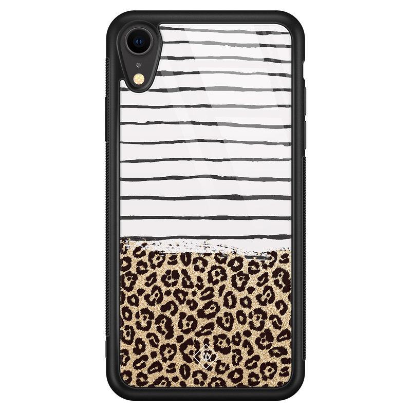 Casimoda iPhone XR glazen hardcase - Leopard lines