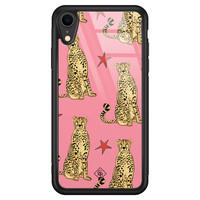 Casimoda iPhone XR glazen hardcase - The pink leopard