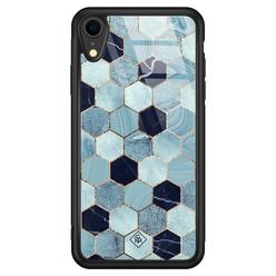 Casimoda iPhone XR glazen hardcase - Blue cubes