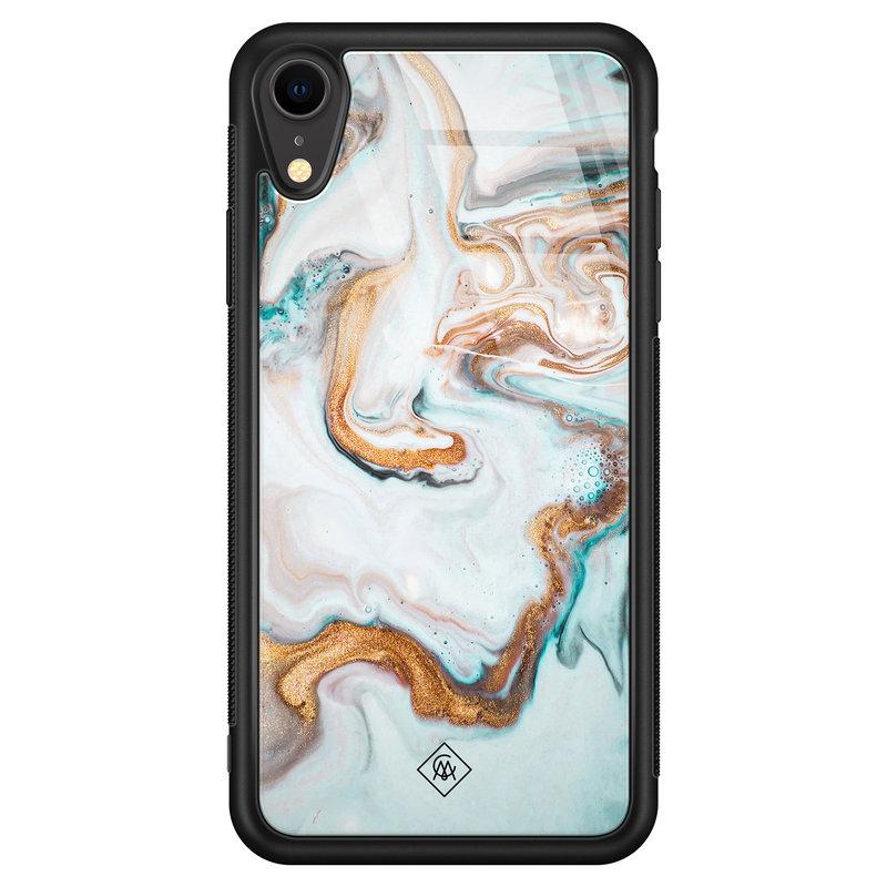 Casimoda iPhone XR glazen hardcase - Goud blauw marmer