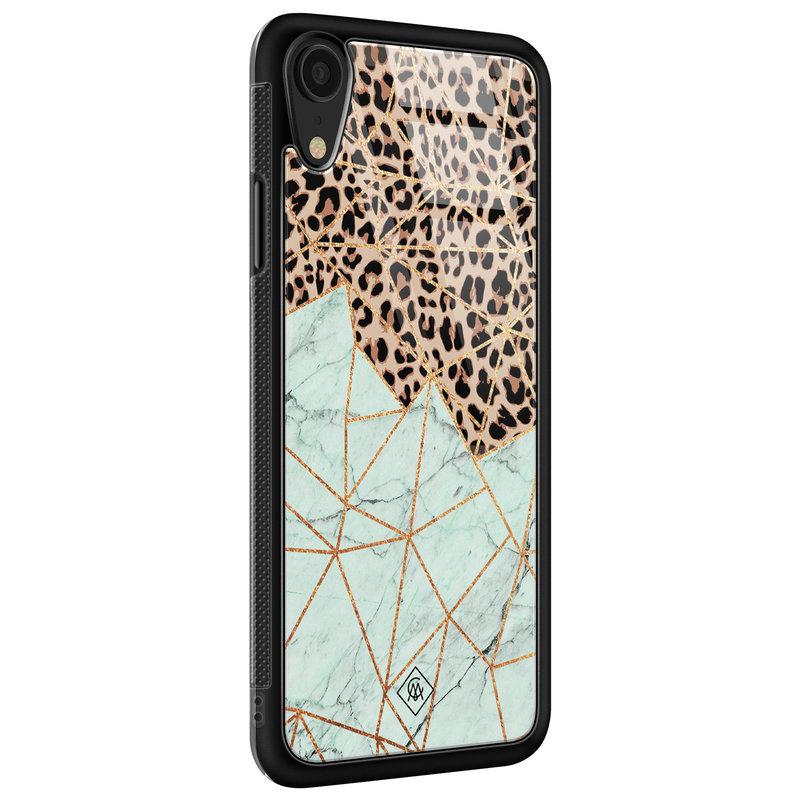 Casimoda iPhone XR glazen hardcase - Luipaard marmer mint