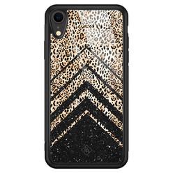 Casimoda iPhone XR glazen hardcase - Chevron luipaard