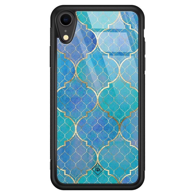 Casimoda iPhone XR glazen hardcase - Geometrisch blauw
