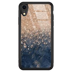 Casimoda iPhone XR glazen hardcase - Marmer blauw rosegoud
