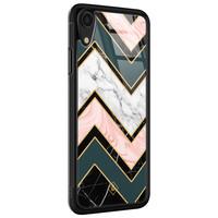 Casimoda iPhone XR glazen hardcase - Marmer triangles